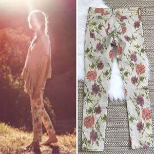 Anthropologie Floral Ikat Print Stet Jeans